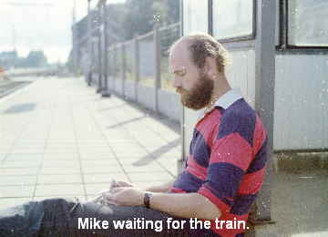 Mike waiting for the train